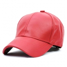 Leather Baseball Cap - Red