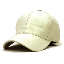Leather Baseball Cap - Cream