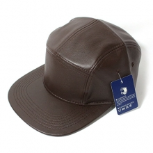 Faux Leather 5panel Camp Cap - Brown