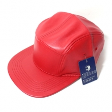 Faux Leather 5panel Camp Cap - Red