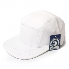Faux Leather 5panel Camp Cap - White