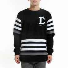 Applique Side Split Crewneck - Black