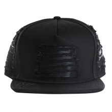 Black Denim Leather Biker Strapback