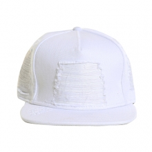 White Denim Leather Biker Strapback