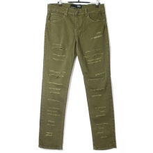 Skinny Fit Pants - Olive Shredded