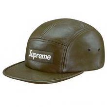 Leather Camp Cap - Olive
