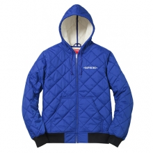 Hooded Quilted Work Jacket - Blue