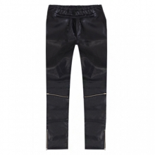 [Flame Flower]Zip Closure Coated Jean