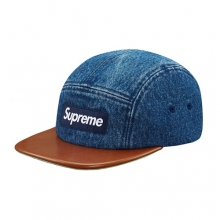 Denim Leather Visor Camp Cap - Indigo