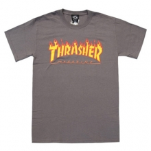 [Thrasher] Flame Logo Short Tee - Charcoal Grey