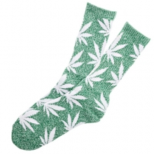 Plantlife Crew Socks - Heather Green/White