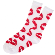 Kiss Lipstick Socks - White