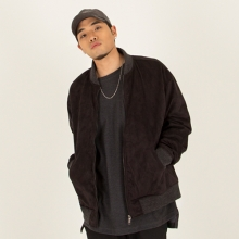 [Nameout] Oversized Suede Blouson Jacket - Black