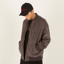 [Nameout] Oversized Suede Blouson Jacket - Charcoal