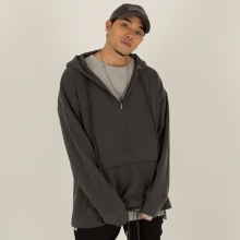 [Nameout] Oversized Half Zip Hoodie - Grey