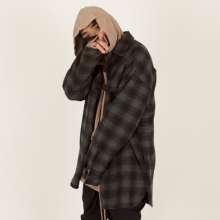 [Nameout] Oversized Flannel Shirt - Grey