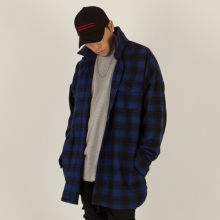 [Nameout] Oversized Flannel Shirt - Blue