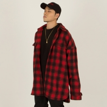 [Nameout] Oversized Flannel Shirt - Red