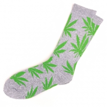 Plantlife Crew Socks - Heather Grey/Green