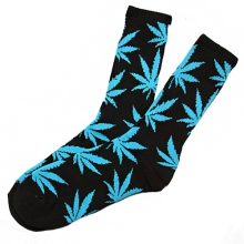 Plantlife Crew Socks - Black/Sky Blue