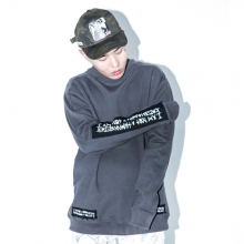 Patched Basic Logo Crewneck - Charcoal