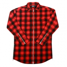 [Maremoto]Two Way Zip Up Flannel Shirts - Red