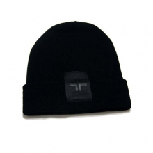 Leather Label Black Beanie