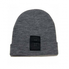 Leather Label Grey Beanie
