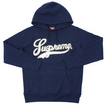 Leather Script Hooded - Navy