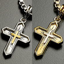 [925 SIlver] Double Crosses Pendant - 2 Color