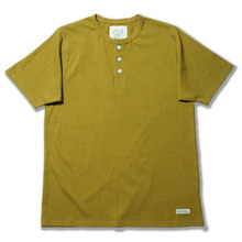 1960s Heavy Weight Rib Henley Neck - Olive Green