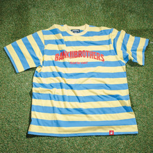 [Bank2Brothers]Stripe T-Shirts - Sky Blue/Yellow