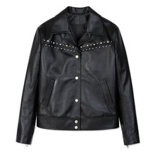 [Andersson Bell] BIRD EMBROIDERY LEATHER JACKET awa063 - Black