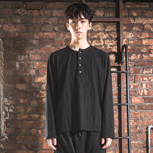 [DAIR LEN MODE]Unbalance Button Tee - Knit Black