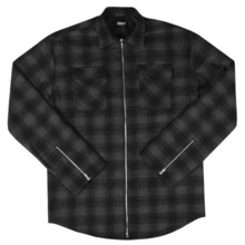 [Maremoto] TWO WAY ZIP-UP FLANNEL SHIRT SEASON2 - BLACK