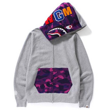 [Bape] Color Camo Shark Full Zip Hoodie - Grey/Purple