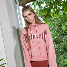 [Another A]Turtleneck Crop Sweatshirt - Pink