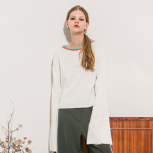 [Another A]Flared Sleeve Roundneck Knit Top - Ivory