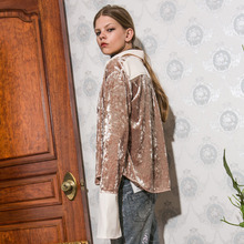 [Another A]Velvet Flared Sleeve Blouse - Beige