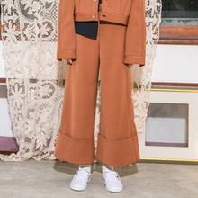 [Another A]Stitch Lined High Wide Pants - Light brown