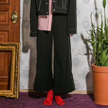 [Another A]Stitch Lined High Wide Pants - Black