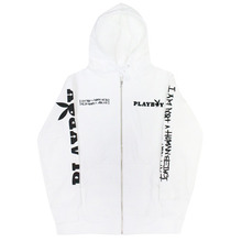 PLAY BOY X I am Not a Human Being Basic Logo Zip Up Jacket - White