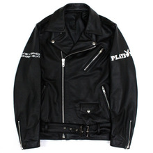 PLAY BOY X I am Not a Human Being Leather Rider Jacket - Black