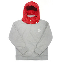[e by EASY BUSY] Padding Pullover Anorak Hoody - Red/Grey