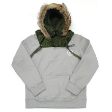 [e by EASY BUSY] Parka Pullover Anorak Hoody - Khaki/Grey