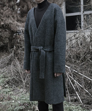 [DAIR LEN MODE]No collar point mohair long coats - Gray