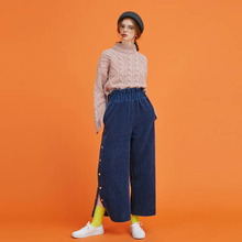 [Another A]corduroy side snap wide pants - navy