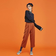 [Another A]front pintuck fold pants - light brown