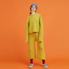 [Another A] lambs wool wide knit pants - yellow