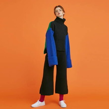 [Another A] lambs wool wide knit pants - black